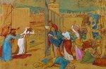 Богоматерь, ученики Христа и женщины, следующие за Ним, смотрят издали на распятие
